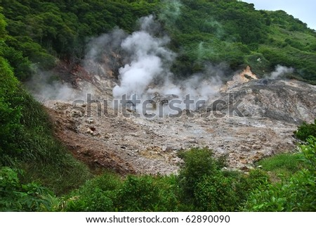View of the Sulphur Springs Drive-in Volcano near Soufriere, Saint Lucia - stock photo