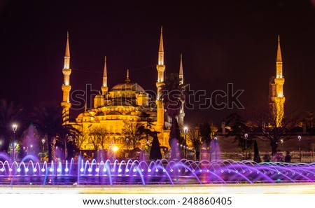 View of the Sultan Ahmed mosque in Istanbul - Turkey - stock photo