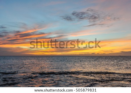 View of the sunset from Sunset Beach on Mana Island in Fiji