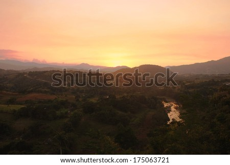 View of the sunset in Cuba - stock photo