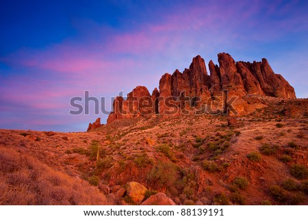 View of the Superstition Mountains, Arizona, USA, from Prospector Trail at twilight.