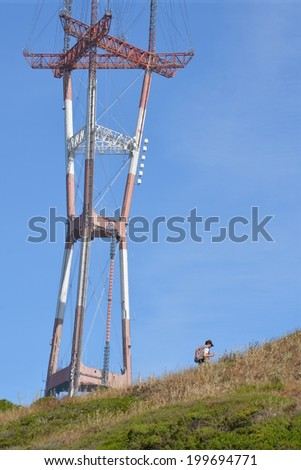 View of the Sutro Tower from Twin Peaks in San Francisco - stock photo