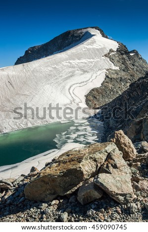 View of the Swiss Alps Mountains from Corvatsch in Switzerland, Europe.