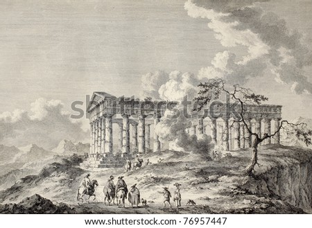 View of the temple of Segesta, western Sicily. By Chatelet and Masquelier, published on Voyage Pittoresque de Naples et de Sicilie,  J. C. R. de Saint Non, Imprimerie de Clousier, Paris, 1786 - stock photo