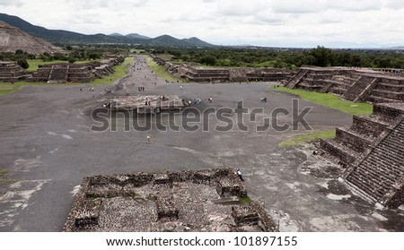 View of the Teotihuacan complex with Moon Pyramids - Mexico - stock photo