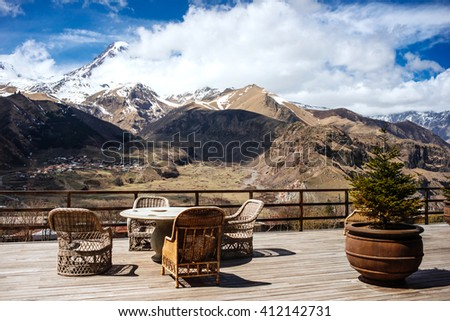 View of the terrace overlooking the Caucasus mountains and the mount Kazbek. - stock photo
