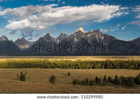 View of the Teton range from the Teton Point Turnout at Grand Teton National Park near Jackson, Wyoming