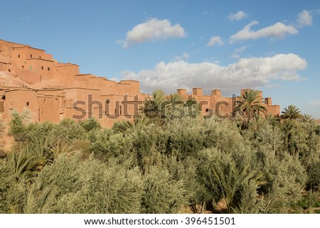 view of the 11th century kasbah of Ait Benhaddou, Morocco