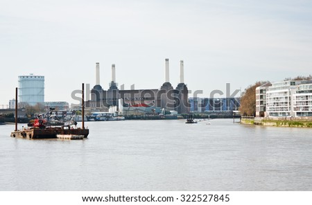 View of the Thames from Vauxhall Bridge towards the Battersea Power Station - stock photo