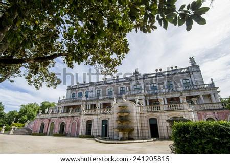 View of the the beautiful National Palace of Queluz, located in Sintra, Portugal. - stock photo