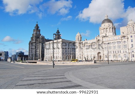 view of the Three Graces, buildings on Liverpool's waterfront, UK - stock photo