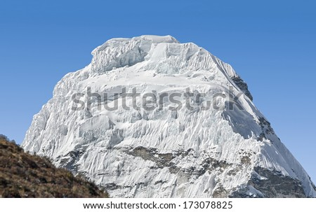 View of the top of the Ama Dablam (6814 m) from the Lhotse glscier - Nepal, Himalayas - stock photo