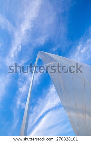 View of the top of the Saint Louis Gateway Arch - stock photo