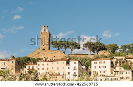 View of the Tower of Castiglion Fiorentino Tuscany - Italy - stock photo
