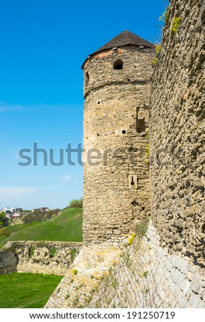 View of the tower of the Old Castle, Kamyanets-Podilsky, Ukraine