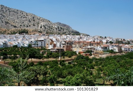 View of the town and surrounding countryside, Valle De Abdalajis (Between Antequera and Alora), Costa del Sol, Malaga Province, Andalusia, Spain, Western Europe. - stock photo