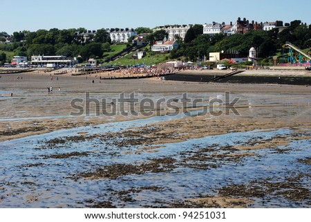 View of the town from the river Thames, Southend-on-Sea, Essex, England - stock photo