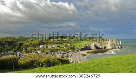 View of the town of Etretat on the Alabaster Coast in Normandy, France - stock photo