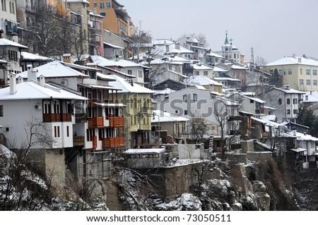 View of the town of Veliko Tarnovo in Bulgaria in the winter - stock photo