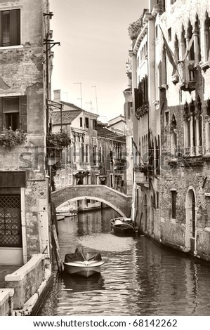 View of the town of Venice (Venezia) in Italy - sepia - stock photo