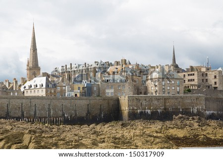 View of the town walls St Malo, Brittany, French - stock photo