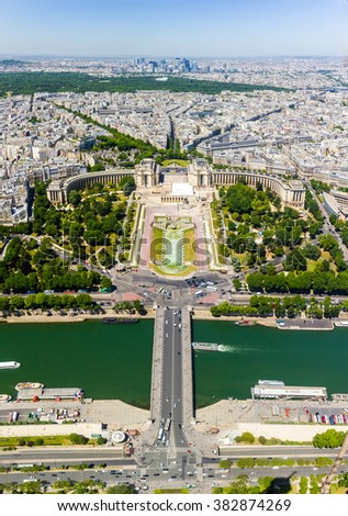 View of the Trocadero from the Eiffel Tower - stock photo