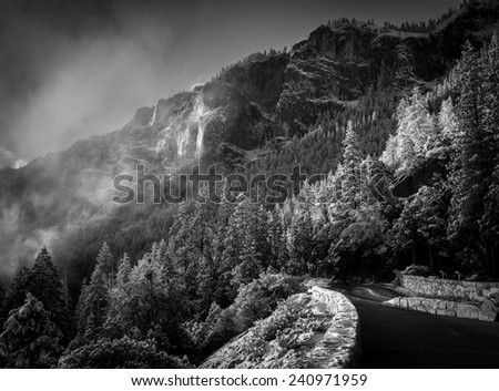 View of the Tunnel View Overlook ridges in the early morning after a snowstorm - stock photo