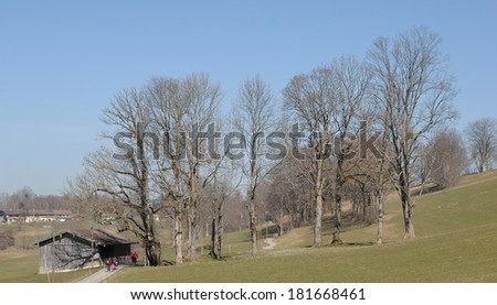View of the typical landscape near the Alps in Bavaria - stock photo