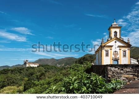 View of the unesco world heritage city of Ouro Preto with Church San Francisco de Paula, Minas Gerais, Brazil - stock photo