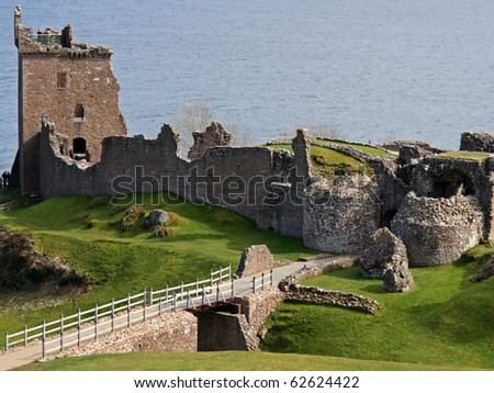 View of the Urquhart Castle near Inverness, Scotland - stock photo