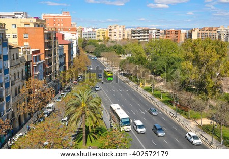 View of the Valencian skyline as seen from the Serrano tower in Valencia, Spain