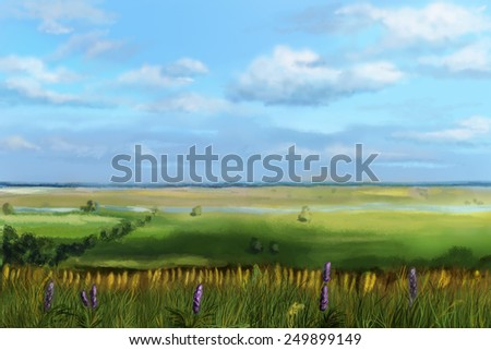 View of the valley from the hill. Digital sketch. - stock photo