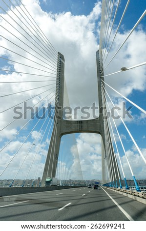 View of the Vasco da Gama bridge - Lisbon - stock photo