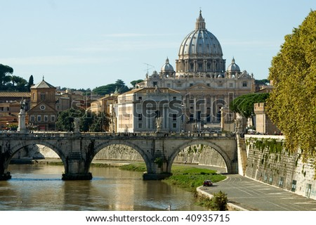 View of the Vatican with Saint Peter's Basilica and Sant'Angelo's Bridge (Rome, Italy)