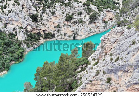 """View of the """"Verdon"""" River in France - stock photo"""