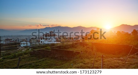 View of the vicinity of the Kathmandu Valley during a beautiful sunset. - stock photo