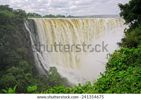 View of the Victoria waterfall in the Zambezi river, Zimbabwe, southern Africa    - stock photo