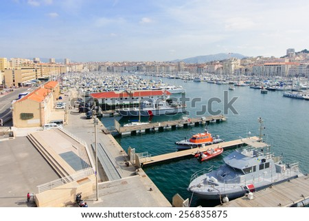 View of the Vieux Port (the old port) area in Marseilles, France - stock photo
