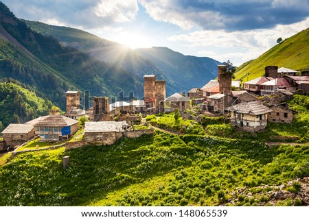 View of the village Adishi. Upper Svaneti, Georgia, Europe. Caucasus mountains. Beauty world. - stock photo