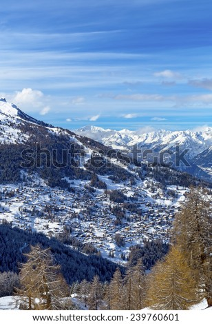 View of the village at the resort 4 Valleys, Nendaz, Swiss Alps. - stock photo