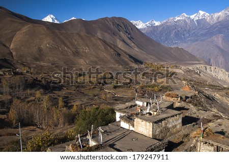 View of the village Jharkot. - stock photo