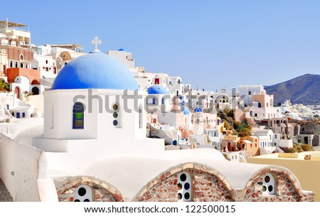 View of the village of Oia in Santorini island, Greece