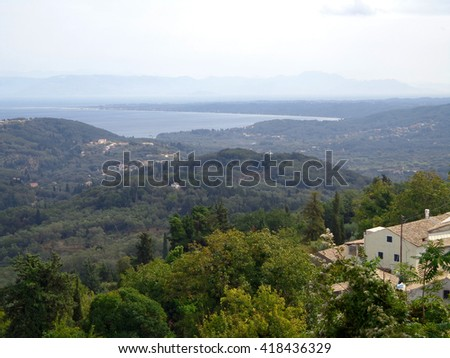 View of the villages, mountains and bay - stock photo
