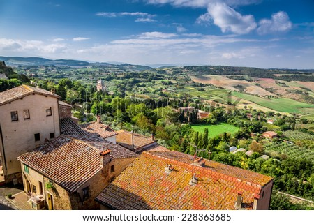 View of the vintage city in Tuscany, Italy - stock photo
