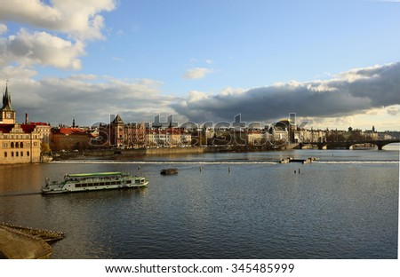 view of the Vltava River with Charles Bridge - stock photo