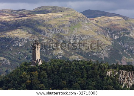 View of the Wallace monument from the castle of Stirling in Scotland. - stock photo