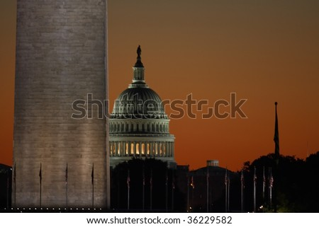 View of the Washington Monument and Capitol Building at Sunrise.