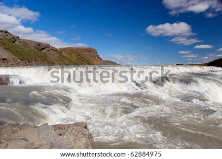 View of the waterfalls in Iceland Gulfoss