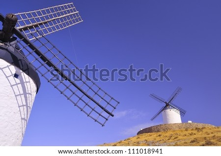 View of the windmills in Consuegra, Spain.