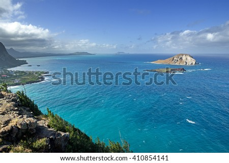 view of the windy shore of Oahu from Makapuu point - stock photo